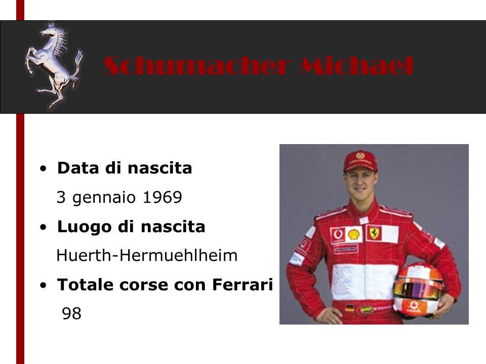 Schumacher Michael Data di nascita 3 gennaio 1969 Luogo di nascita Huerth-Hermuehlheim Totale corse con Ferrari 98