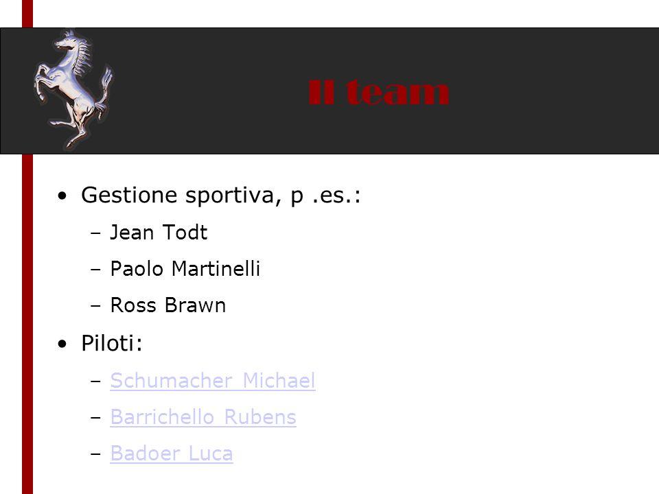 Il team Gestione sportiva, p.es.: –Jean Todt –Paolo Martinelli –Ross Brawn Piloti: –Schumacher MichaelSchumacher Michael –Barrichello RubensBarrichell