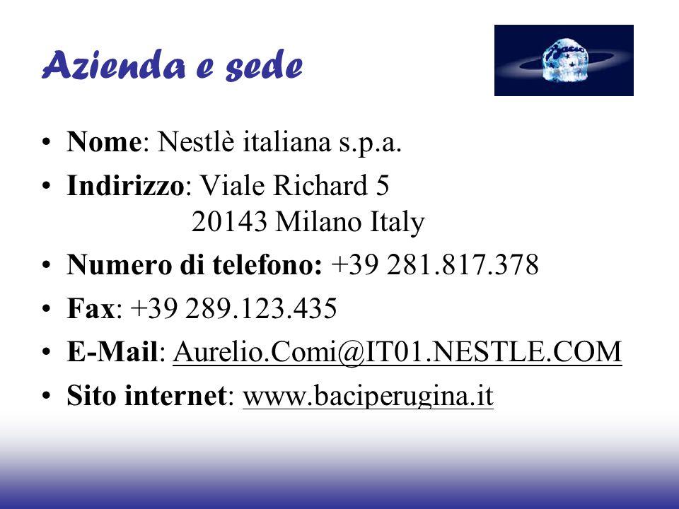 Azienda e sede Nome: Nestlè italiana s.p.a. Indirizzo: Viale Richard 5 20143 Milano Italy Numero di telefono: +39 281.817.378 Fax: +39 289.123.435 E-M