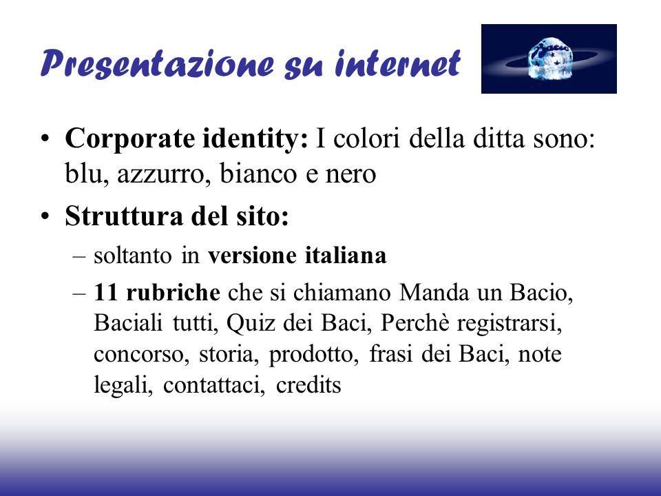 Presentazione su internet Corporate identity: I colori della ditta sono: blu, azzurro, bianco e nero Struttura del sito: –soltanto in versione italian