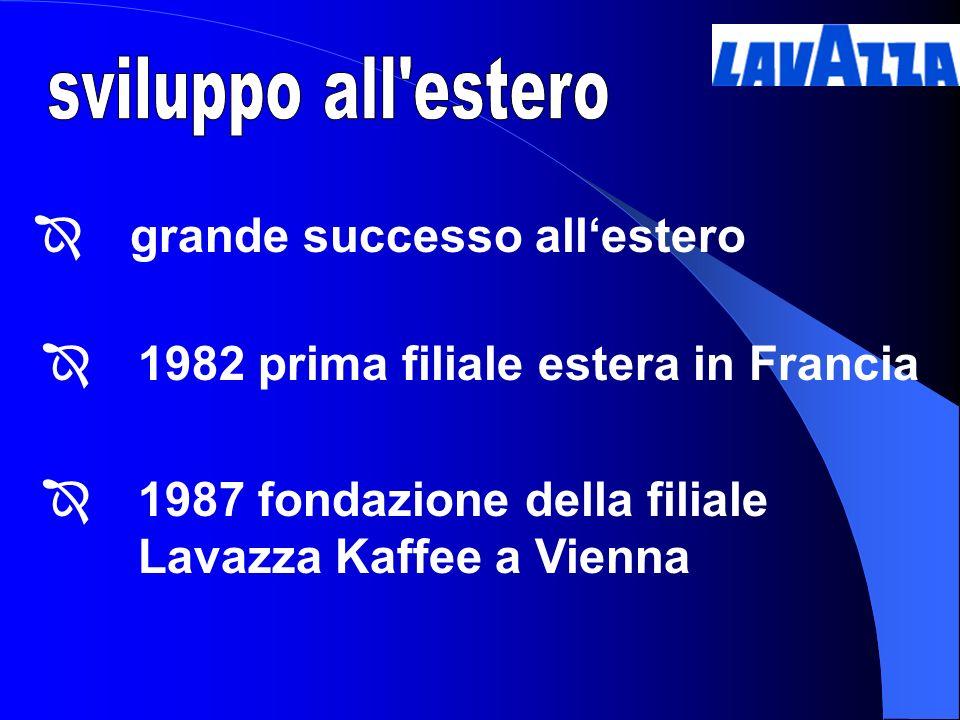 1982 prima filiale estera in Francia 1987 fondazione della filiale Lavazza Kaffee a Vienna grande successo allestero