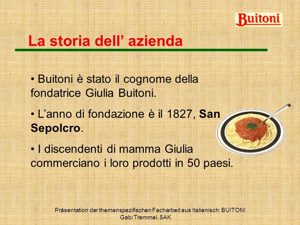Präsentation der themenspezifischen Facharbeit aus Italienisch: BUITONI Gabi Tremmel, 5AK La storia dell azienda Buitoni è stato il cognome della fond