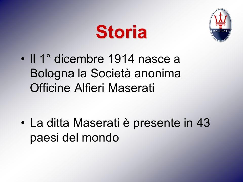 Storia Il 1° dicembre 1914 nasce a Bologna la Società anonima Officine Alfieri Maserati La ditta Maserati è presente in 43 paesi del mondo