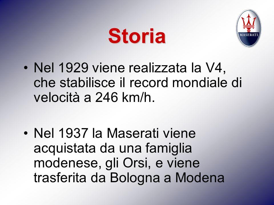 Storia Nel 1929 viene realizzata la V4, che stabilisce il record mondiale di velocità a 246 km/h. Nel 1937 la Maserati viene acquistata da una famigli