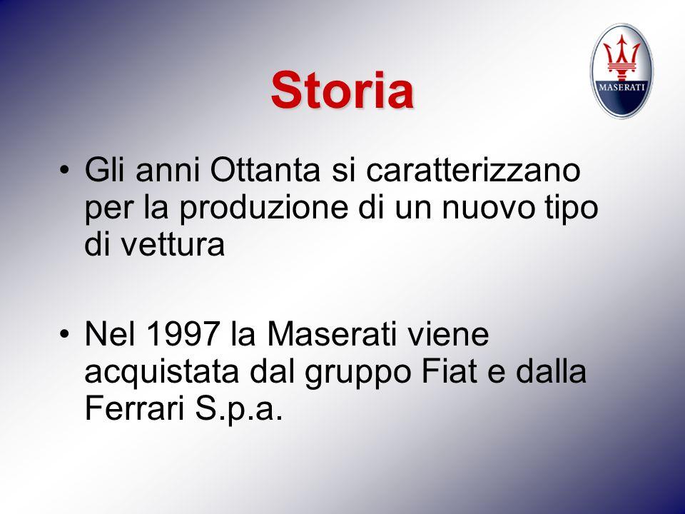 Storia Gli anni Ottanta si caratterizzano per la produzione di un nuovo tipo di vettura Nel 1997 la Maserati viene acquistata dal gruppo Fiat e dalla