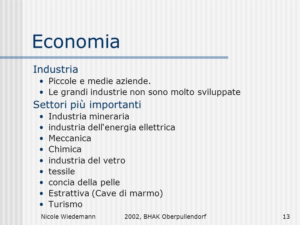 Nicole Wiedemann2002, BHAK Oberpullendorf13 Economia Industria Piccole e medie aziende. Le grandi industrie non sono molto sviluppate Settori più impo