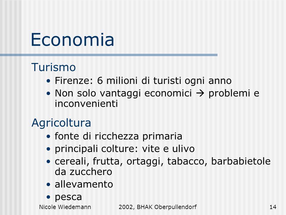 Nicole Wiedemann2002, BHAK Oberpullendorf14 Economia Turismo Firenze: 6 milioni di turisti ogni anno Non solo vantaggi economici problemi e inconvenie