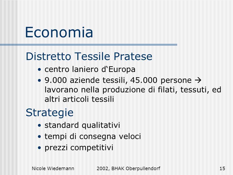 Nicole Wiedemann2002, BHAK Oberpullendorf15 Economia Distretto Tessile Pratese centro laniero dEuropa 9.000 aziende tessili, 45.000 persone lavorano n