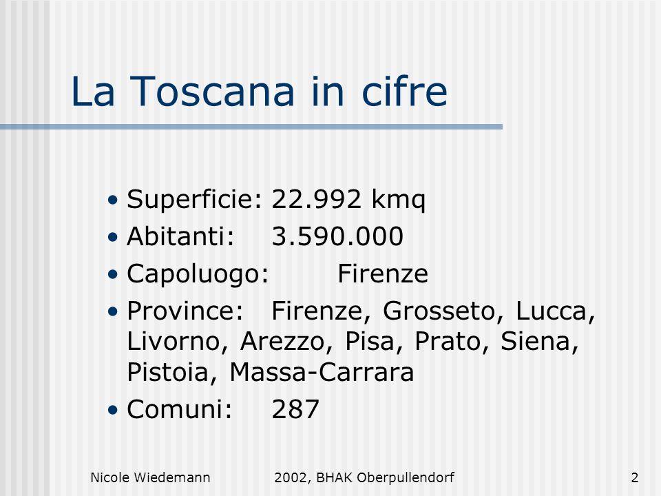 Nicole Wiedemann2002, BHAK Oberpullendorf2 La Toscana in cifre Superficie:22.992 kmq Abitanti:3.590.000 Capoluogo:Firenze Province:Firenze, Grosseto,