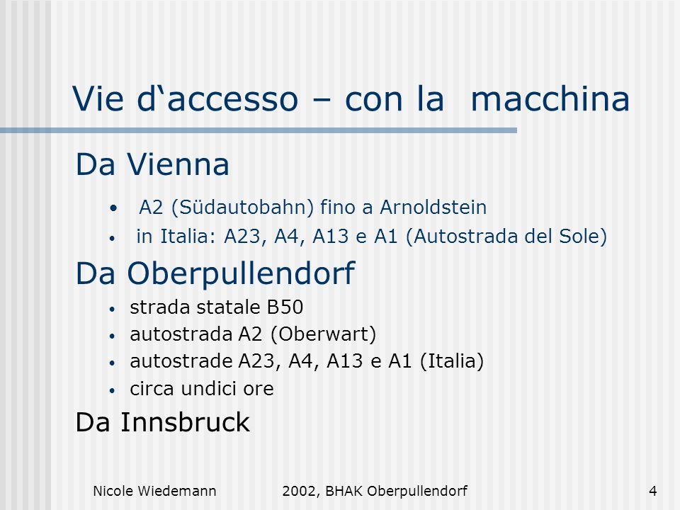 Nicole Wiedemann2002, BHAK Oberpullendorf4 Vie daccesso – con la macchina Da Vienna A2 (Südautobahn) fino a Arnoldstein in Italia: A23, A4, A13 e A1 (