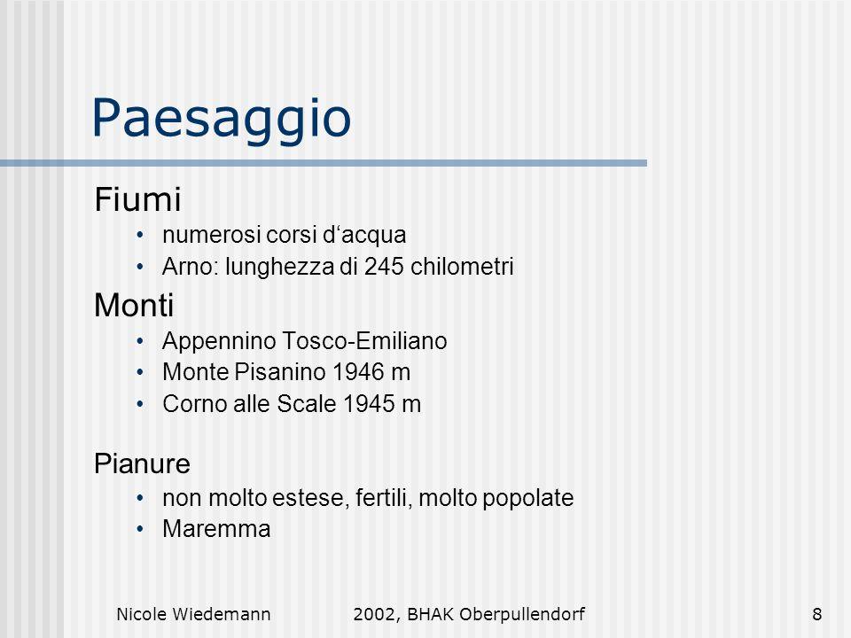 Nicole Wiedemann2002, BHAK Oberpullendorf8 Paesaggio Fiumi numerosi corsi dacqua Arno: lunghezza di 245 chilometri Monti Appennino Tosco-Emiliano Mont