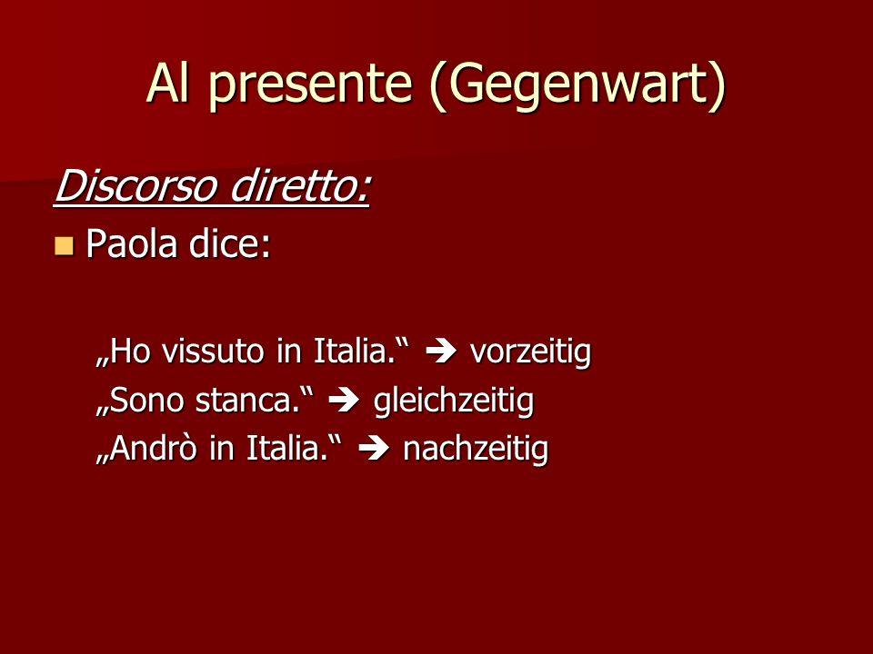 Al presente (Gegenwart) Discorso diretto: Paola dice: Paola dice: Ho vissuto in Italia.