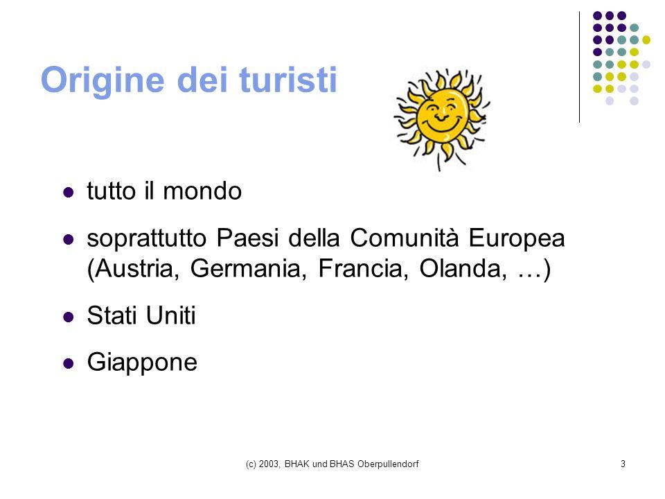 (c) 2003, BHAK und BHAS Oberpullendorf3 Origine dei turisti tutto il mondo soprattutto Paesi della Comunità Europea (Austria, Germania, Francia, Olanda, …) Stati Uniti Giappone