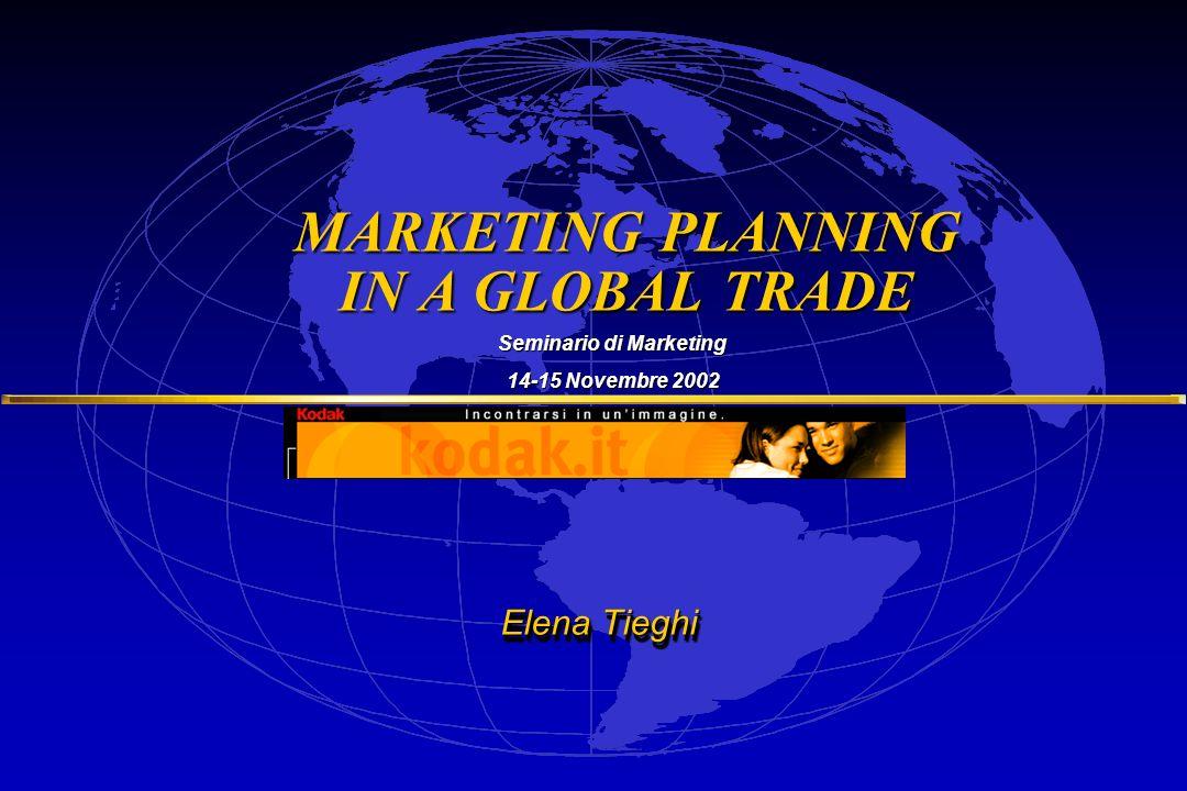 Dott.ssa ELENA TIEGHI MARKETING PLANNING IN A GLOBAL TRADE Salisburgo, Novembre 2002 Dott.ssa ELENA TIEGHI MARKETING PLANNING IN A GLOBAL TRADE Salisburgo, Novembre 2002 Marketing = PROCESSO CONTROLLO ANALISI MACROAMBIENTEMICROAMBIENTE MARKETING STRATEGICO STRATEGICO MARKETING OPERATIVO OPERATIVO OBIETTIVI BRAND PIANIFICAZIONE SEGMENTAZIONETARGETPOSIZIONAMENTO IMPLEMENTAZIONE PRODOTTOPREZZOPLACE-distribuzione PROMOTION- comunicazione