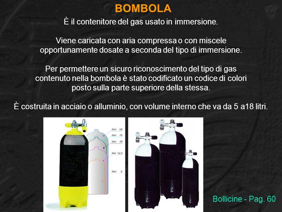 BOMBOLA È il contenitore del gas usato in immersione. Viene caricata con aria compressa o con miscele opportunamente dosate a seconda del tipo di imme