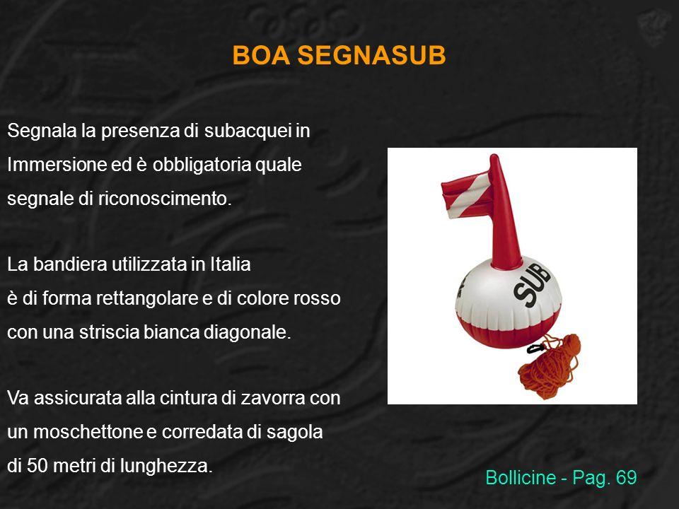 BOA SEGNASUB Segnala la presenza di subacquei in Immersione ed è obbligatoria quale segnale di riconoscimento. La bandiera utilizzata in Italia è di f