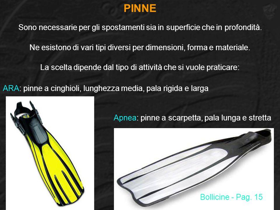 PINNE ARA: pinne a cinghioli, lunghezza media, pala rigida e larga Sono necessarie per gli spostamenti sia in superficie che in profondità. Ne esiston