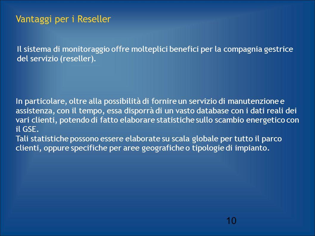 10 Vantaggi per i Reseller Il sistema di monitoraggio offre molteplici benefici per la compagnia gestrice del servizio (reseller).