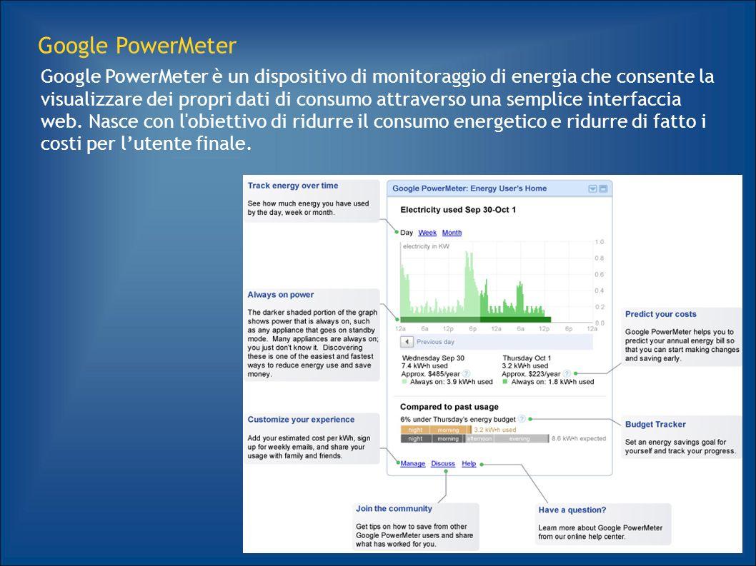 12 Google PowerMeter Google PowerMeter è un dispositivo di monitoraggio di energia che consente la visualizzare dei propri dati di consumo attraverso una semplice interfaccia web.