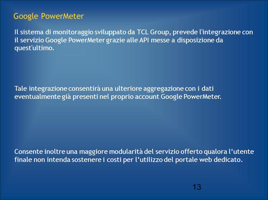 13 Google PowerMeter Il sistema di monitoraggio sviluppato da TCL Group, prevede l integrazione con il servizio Google PowerMeter grazie alle API messe a disposizione da quest ultimo.