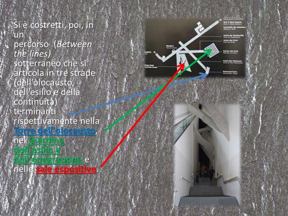 Si è costretti, poi, in un percorso (Between the lines) sotterraneo che si articola in tre strade (dellolocausto, dellesilio e della continuità) termi