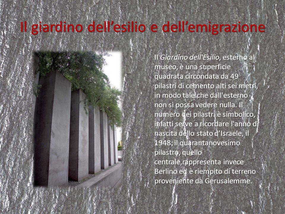 Il giardino dellesilio e dellemigrazione Il Giardino dell'Esilio, esterno al museo, è una superficie quadrata circondata da 49 pilastri di cemento alt