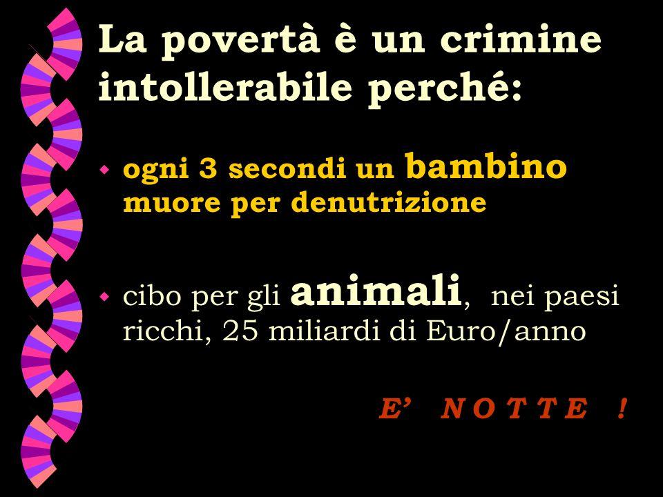 La povertà è un crimine intollerabile perché: w ogni 3 secondi un bambino muore per denutrizione w cibo per gli animali, nei paesi ricchi, 25 miliardi di Euro/anno E N O T T E !