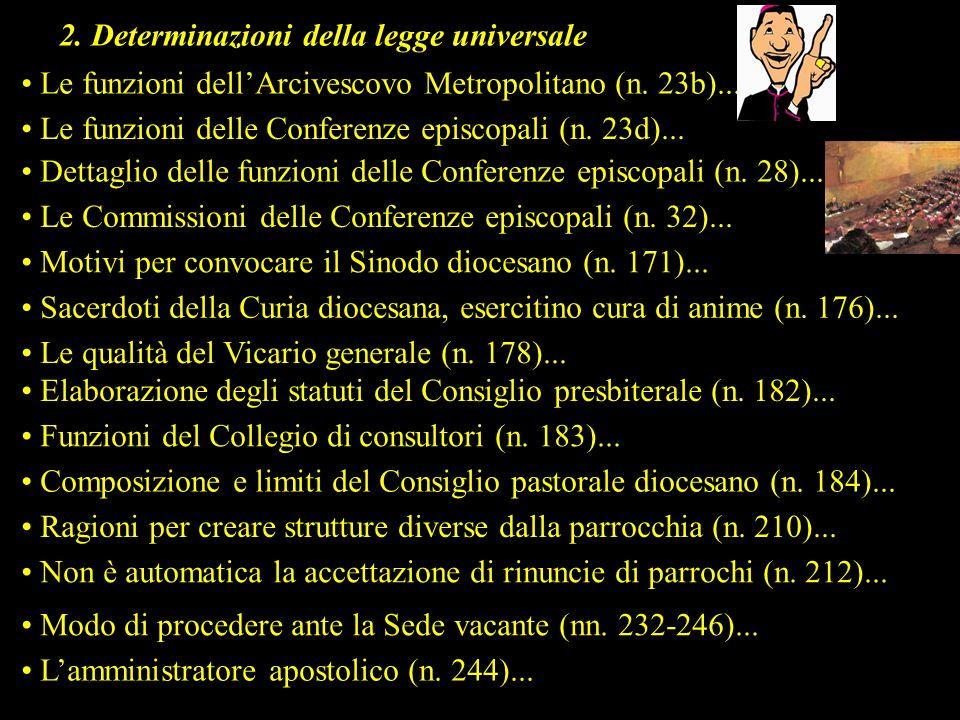 2. Determinazioni della legge universale Le funzioni dellArcivescovo Metropolitano (n. 23b)... Le funzioni delle Conferenze episcopali (n. 23d)... Det