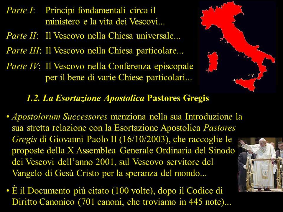 Parte I:Principi fondamentali circa il ministero e la vita dei Vescovi... Parte II:Il Vescovo nella Chiesa universale... Parte III:Il Vescovo nella Ch
