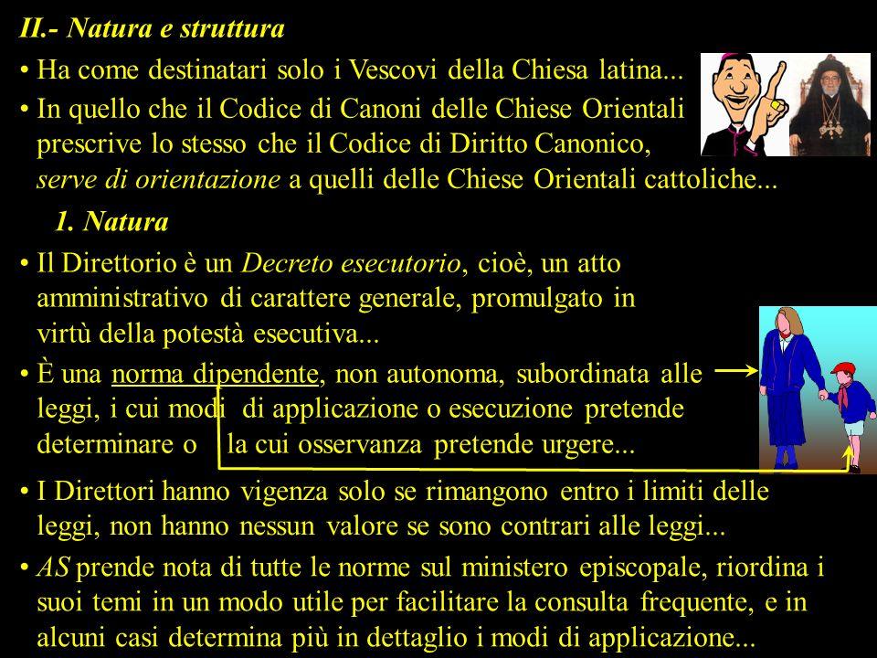 II.- Natura e struttura Ha come destinatari solo i Vescovi della Chiesa latina... In quello che il Codice di Canoni delle Chiese Orientali prescrive l