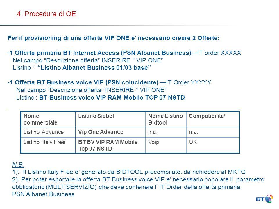 Per il provisioning di una offerta VIP ONE e necessario creare 2 Offerte: -1 Offerta primaria BT Internet Access (PSN Albanet Business)IT order XXXXX