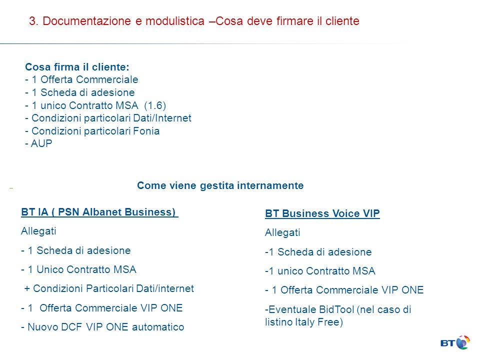 BT IA ( PSN Albanet Business) Allegati - 1 Scheda di adesione - 1 Unico Contratto MSA + Condizioni Particolari Dati/internet - 1 Offerta Commerciale V