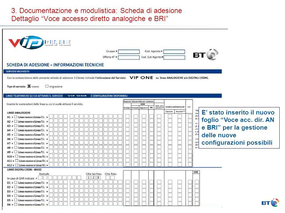 3. Documentazione e modulistica: Scheda di adesione Dettaglio Voce accesso diretto analogiche e BRI E stato inserito il nuovo foglio Voce acc. dir. AN