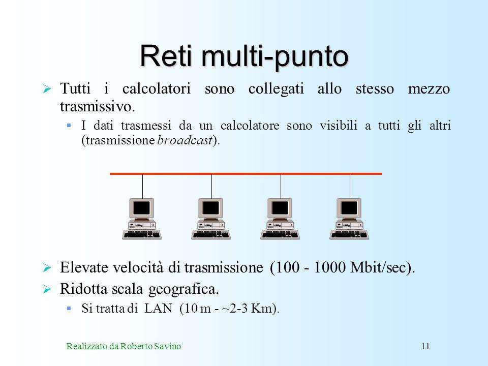 Realizzato da Roberto Savino11 Reti multi-punto Tutti i calcolatori sono collegati allo stesso mezzo trasmissivo.