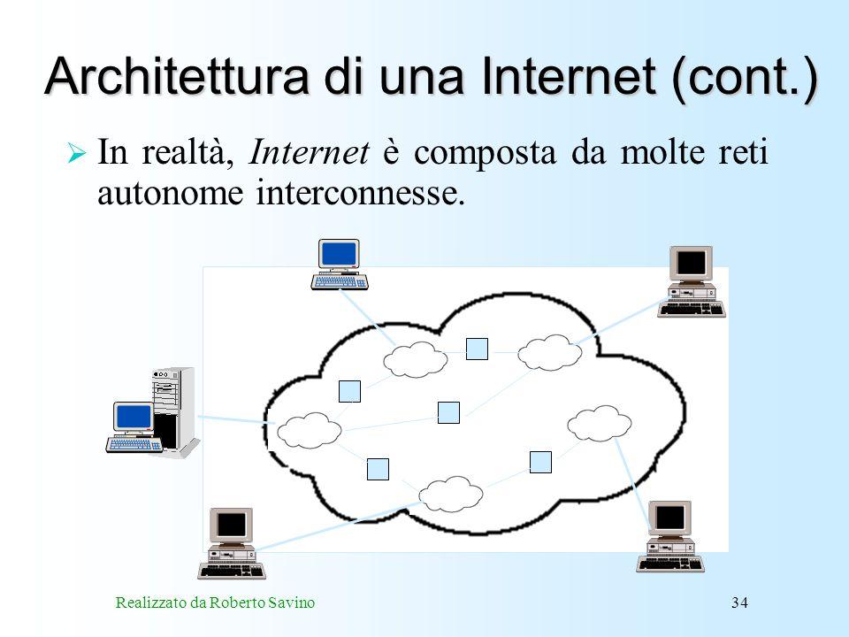 Realizzato da Roberto Savino34 Architettura di una Internet (cont.) In realtà, Internet è composta da molte reti autonome interconnesse.