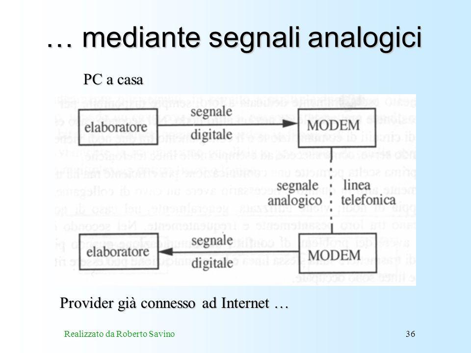 Realizzato da Roberto Savino36 … mediante segnali analogici Provider già connesso ad Internet … PC a casa