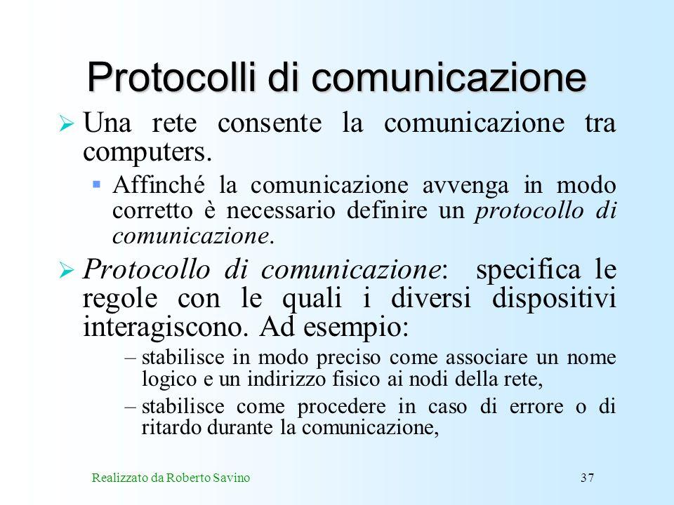 Realizzato da Roberto Savino37 Protocolli di comunicazione Una rete consente la comunicazione tra computers.
