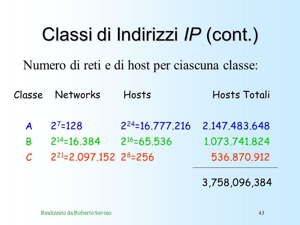 Realizzato da Roberto Savino43 Classi di Indirizzi IP (cont.) Networks 2 7 =128 2 14 =16.384 2 21 =2.097.152 Hosts 2 24 =16.777.216 2 16 =65.536 2 8 =256 Classe A B C Hosts Totali 2.147.483.648 1.073.741.824 536.870.912 3,758,096,384 Numero di reti e di host per ciascuna classe: