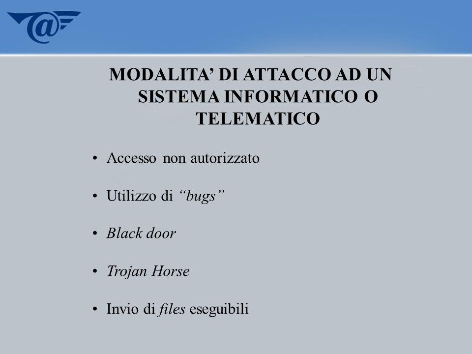 MODALITA DI ATTACCO AD UN SISTEMA INFORMATICO O TELEMATICO Accesso non autorizzato Utilizzo di bugs Black door Trojan Horse Invio di files eseguibili
