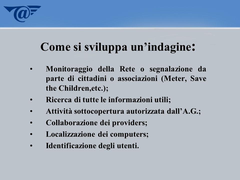 Come si sviluppa unindagine : Monitoraggio della Rete o segnalazione da parte di cittadini o associazioni (Meter, Save the Children,etc.); Ricerca di