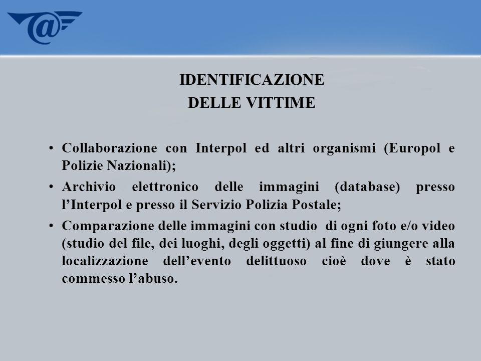 IDENTIFICAZIONE DELLE VITTIME Collaborazione con Interpol ed altri organismi (Europol e Polizie Nazionali); Archivio elettronico delle immagini (datab