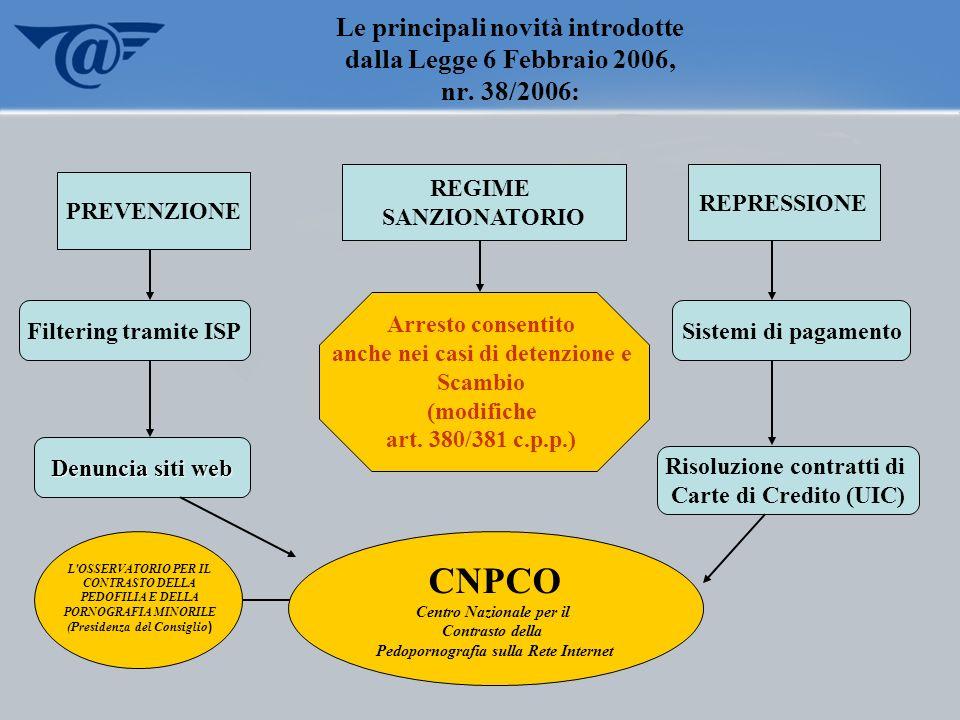 Le principali novità introdotte dalla Legge 6 Febbraio 2006, nr. 38/2006: CNPCO Centro Nazionale per il Contrasto della Pedopornografia sulla Rete Int