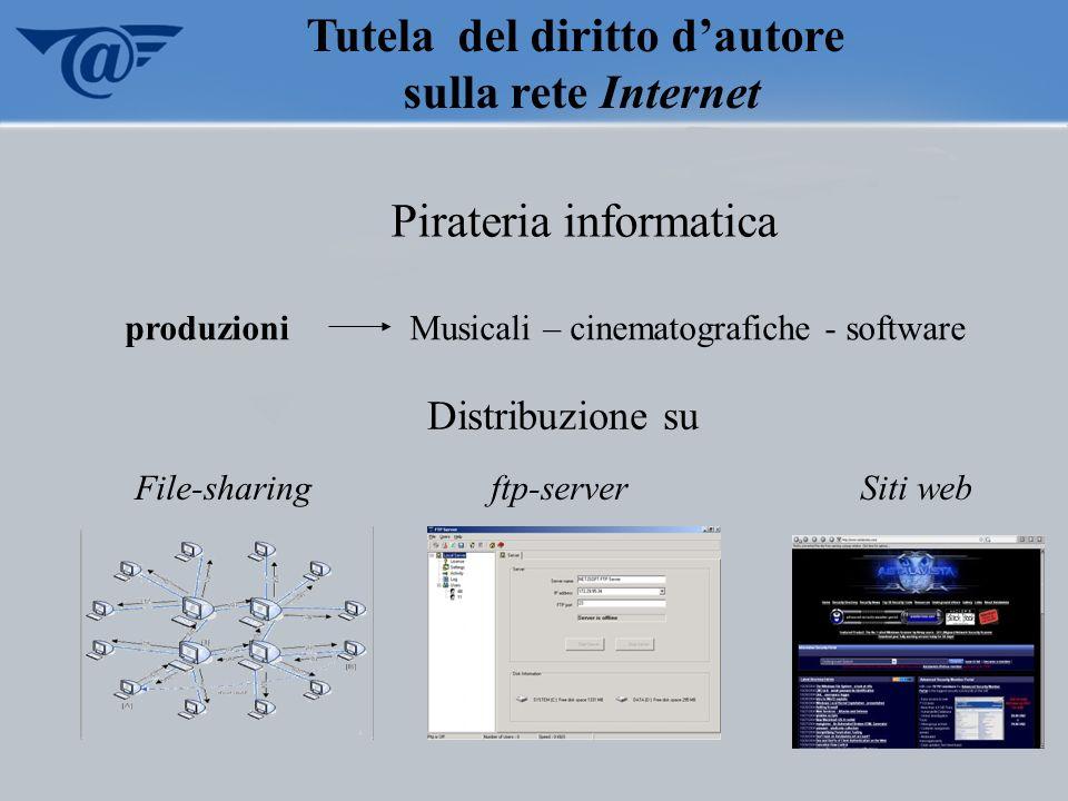 Pirateria informatica produzioniMusicali – cinematografiche - software Tutela del diritto dautore sulla rete Internet Distribuzione su File-sharing ft