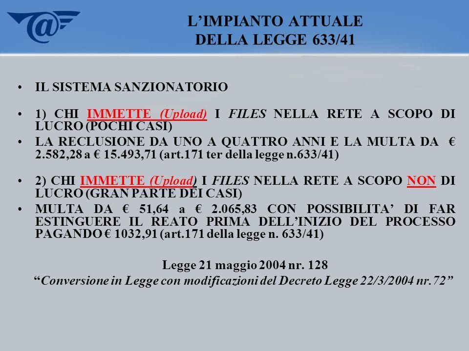 LIMPIANTO ATTUALE DELLA LEGGE 633/41 IL SISTEMA SANZIONATORIO 1) CHI IMMETTE (Upload) I FILES NELLA RETE A SCOPO DI LUCRO (POCHI CASI) LA RECLUSIONE D