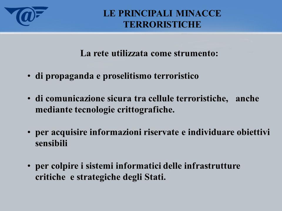 LE PRINCIPALI MINACCE TERRORISTICHE La rete utilizzata come strumento: di propaganda e proselitismo terroristico di comunicazione sicura tra cellule t