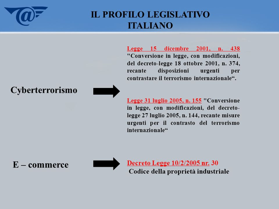 CRIMINALITA, TERRORISMO ED INTERNET Computer Related Crime ( Crimini commessi ) mediante la Rete ) Mezzo di comunicazione sicuro Computer Crime (Crimini contro la Rete)