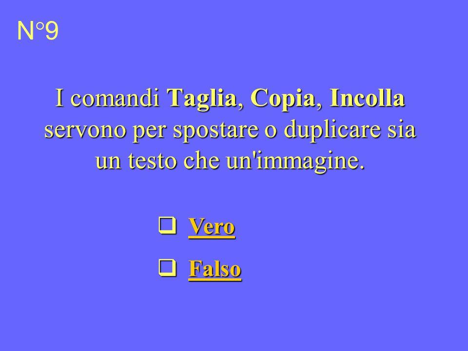 I comandi Taglia, Copia, Incolla servono per spostare o duplicare sia un testo che un immagine.