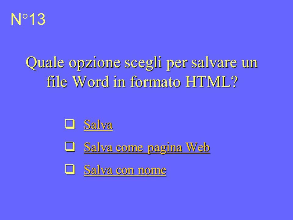 Quale opzione scegli per salvare un file Word in formato HTML.