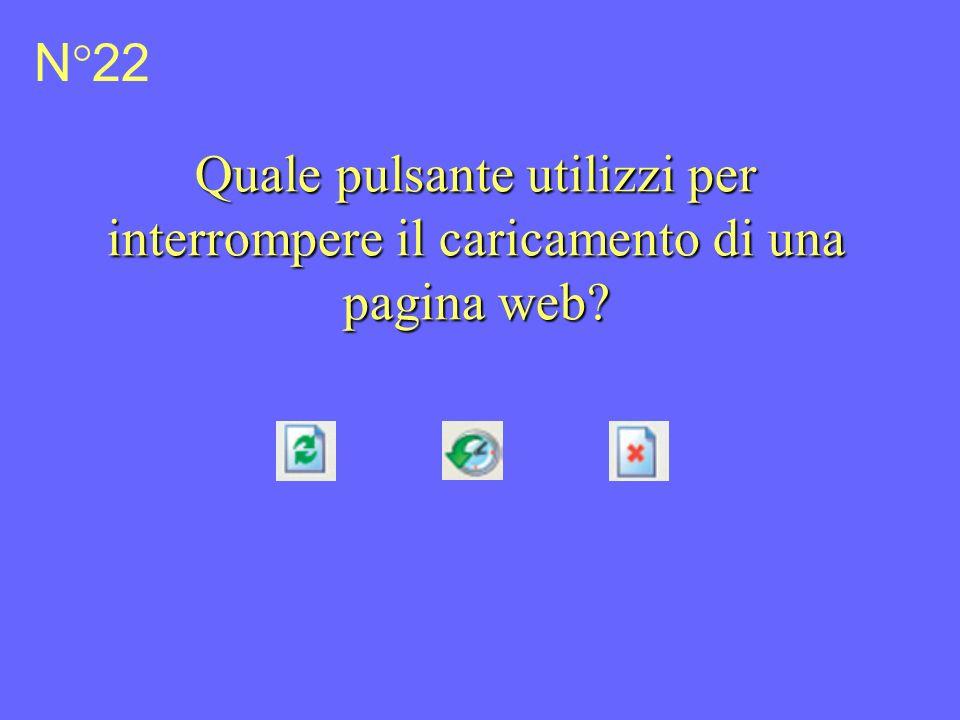 N°22 Quale pulsante utilizzi per interrompere il caricamento di una pagina web