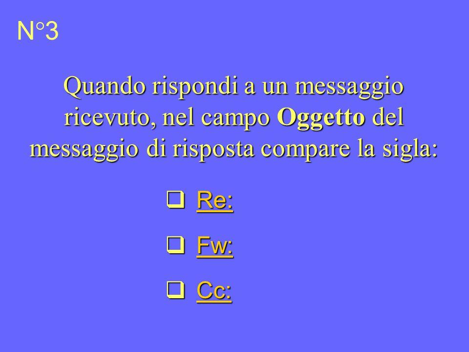 N°3 Quando rispondi a un messaggio ricevuto, nel campo Oggetto del messaggio di risposta compare la sigla: Re: Re: Re: Fw: Fw: Fw: Cc: Cc: Cc: